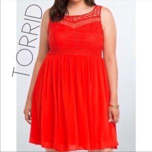 Torrid red crochet lace gauze midi dress 20 2X